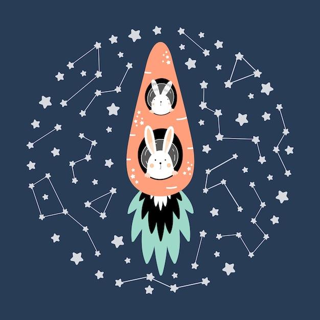 Lièvres mignons sur une fusée de carotte dans l'espace Vecteur Premium