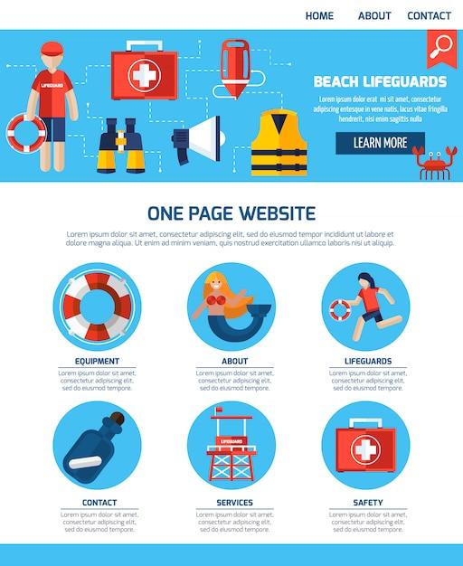 Life guard site web d'une page Vecteur gratuit