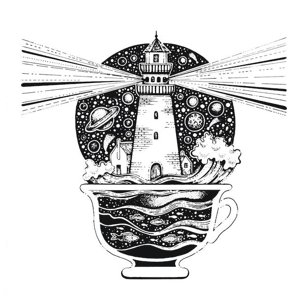 Lighghouse dans la tasse à café art au trait noir. croquis de style vintage pour l'impression de t-shirt ou de tatouage. Vecteur Premium