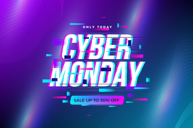 Lighten Grafient Glitch Cyber Monday Vecteur gratuit