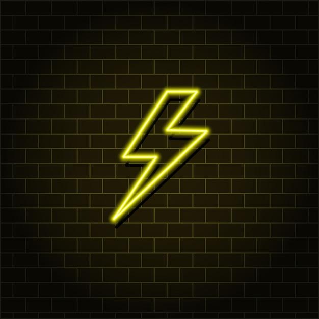 Lightning Neon. Boulon Jaune Vecteur Premium