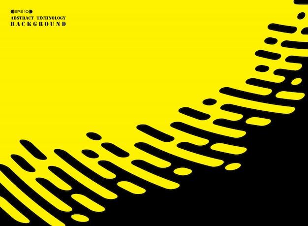 Ligne de bande abstraite de noir sur fond jaune. Vecteur Premium
