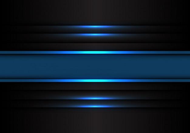 Ligne de bannière bleue sur fond noir. Vecteur Premium