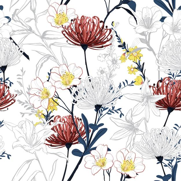 Ligne botanique été fleurs ligne transparente motif vecteur Vecteur Premium