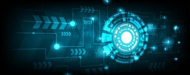Ligne de cercle et de l'électricité vector avec cycle électronique bleu Vecteur Premium