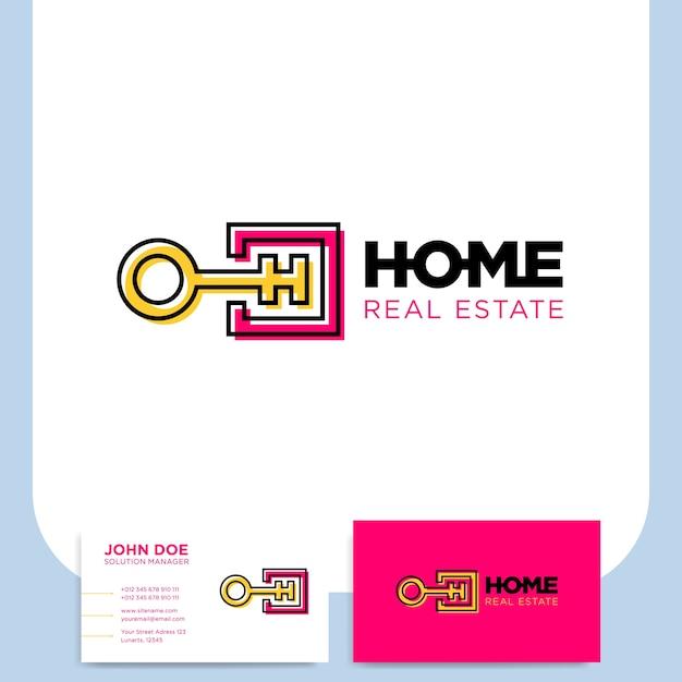 Ligne Cle Carree Et Lettre H Logo Pour La Securite A Maison Avec