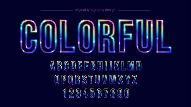 Ligne colorée typographie design Vecteur Premium