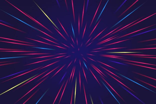 Ligne conique abstraite avec arrière-plan coloré style étoile Vecteur Premium