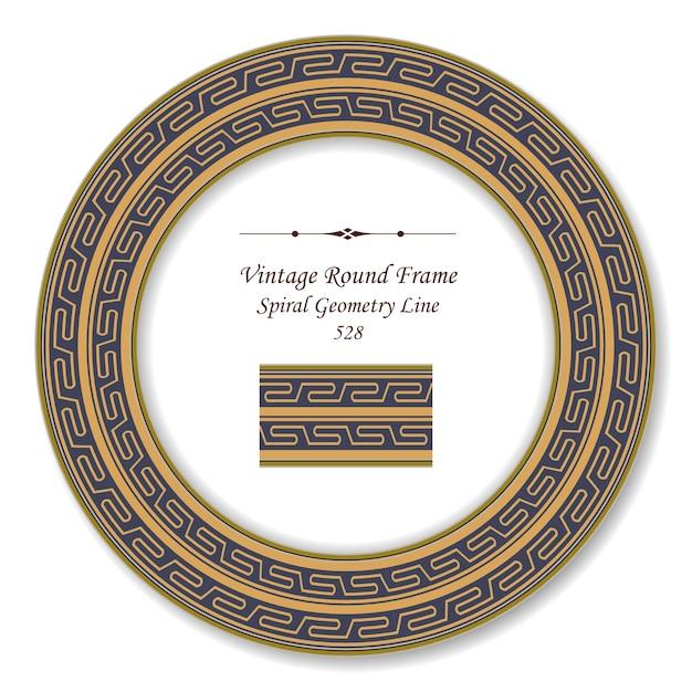 Ligne Croisée De Géométrie Spirale Dorée Vintage Cadre Rétro Rond Vecteur Premium