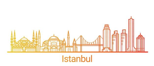 Ligne De Dégradé De Couleur De La Ville D'istanbul Vecteur Premium