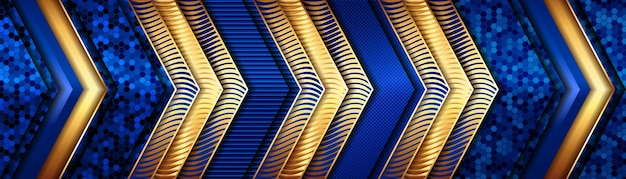 Ligne Dorée De Luxe Abstraite Avec Fond De Décoration De Modèle Bleu Clair Vecteur Premium