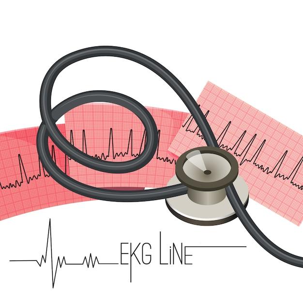 Ligne ecg sur une longue feuille de papier et un stéthoscope médical. Vecteur Premium