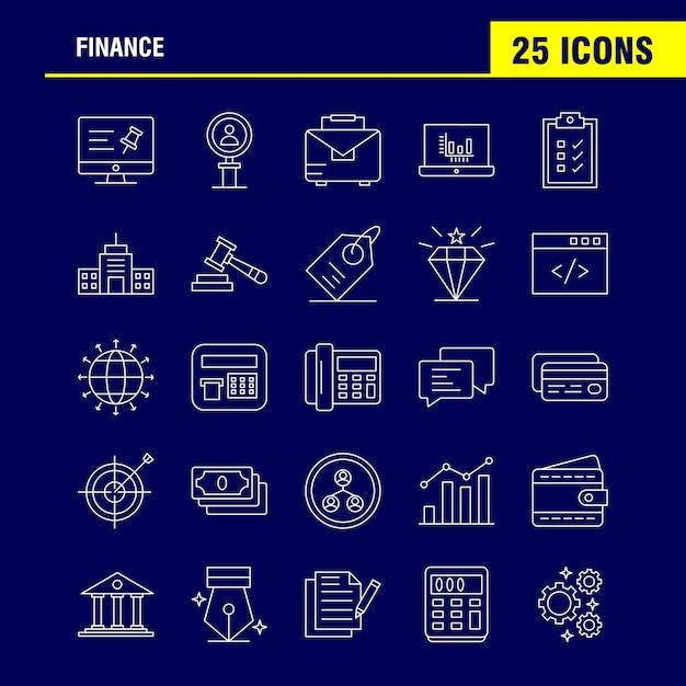 Ligne De Finances Icons Set Pour Infographie, Kit Mobile Ux / Ui Vecteur gratuit