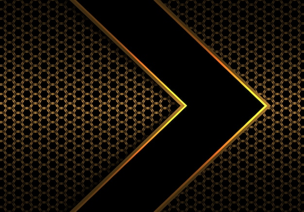 Ligne de flèche noire or sur le modèle de maille hexagonale. Vecteur Premium