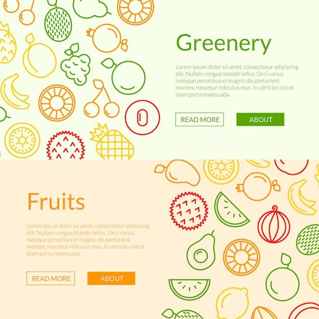 Ligne Fruits Icônes Web Bannière Illustration De Modèles Vecteur Premium