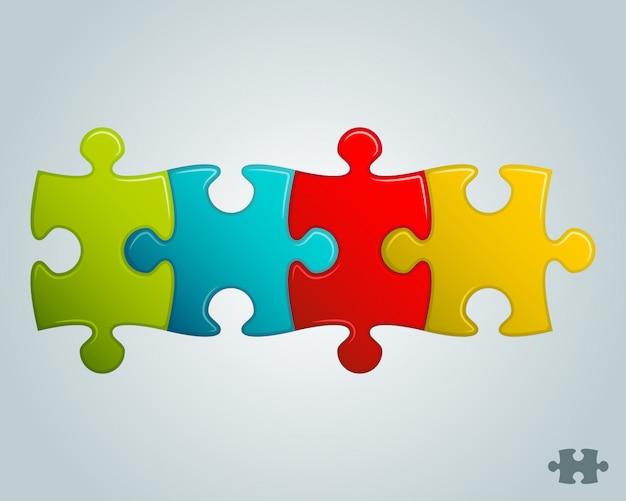 Ligne horizontale de pièces de puzzle colorées Vecteur Premium