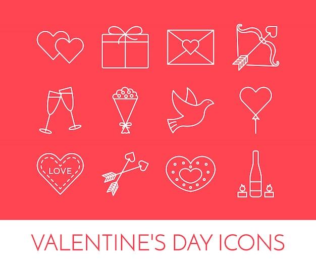 Ligne Des Icônes Minces Pour Le Thème Saint Valentin Et La Date. Vecteur Premium