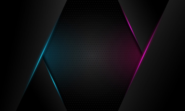 Ligne de lumière abstraite bleu et violet slash sur fond futuriste moderne design espace gris foncé Vecteur Premium