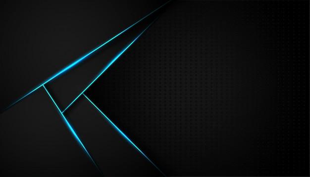 Ligne De Lumière Bleue Abstraite Sur Fond Noir Vecteur Premium