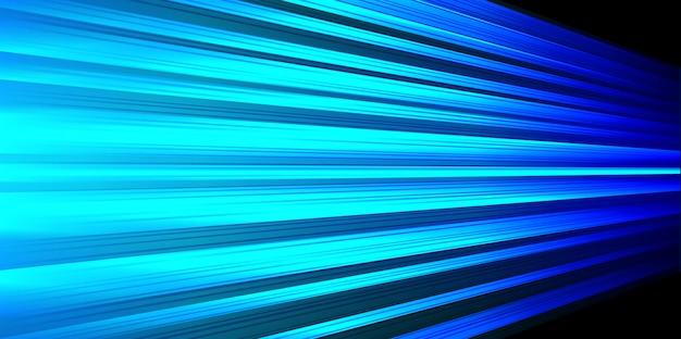 Ligne de lumière bleue vitesse rapide zoom sur fond noir. Vecteur Premium