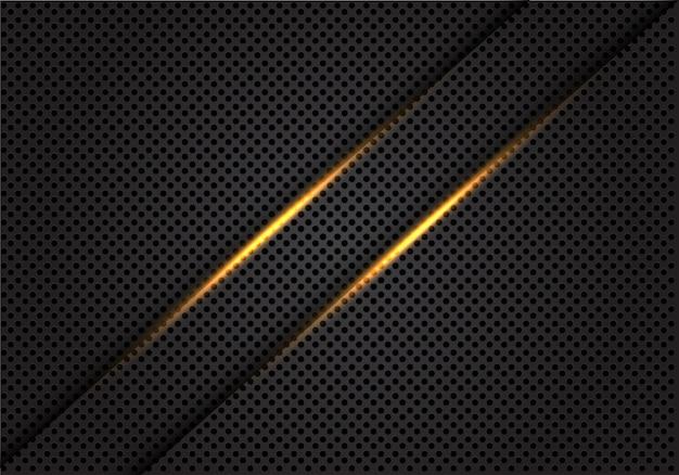 Ligne de lumière double or sur fond de maille de cercle gris foncé. Vecteur Premium