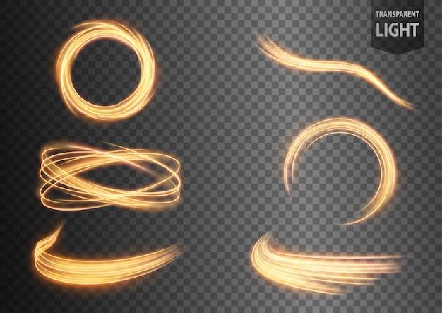 Ligne de lumière ondulée or abstraite sertie de fond transparent Vecteur Premium