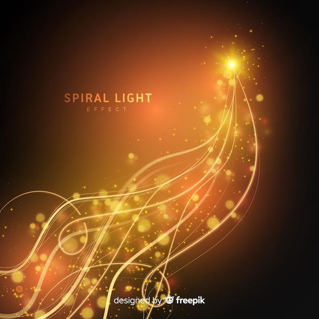 Ligne de lumière spirale rougeoyante dorée Vecteur gratuit