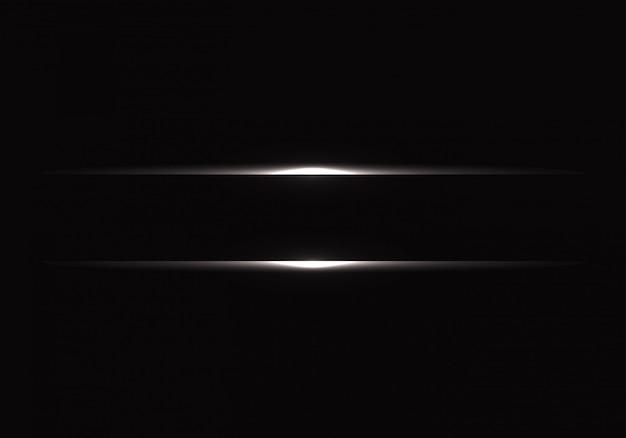 Ligne Lumineuse Argentée Sur Fond Noir. Vecteur Premium