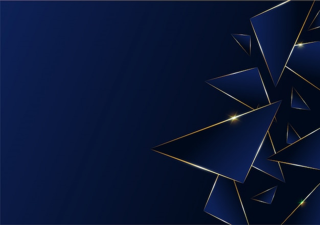 Ligne De Luxe Doré Motif Abstrait Polygonale Avec Bleu Foncé Vecteur Premium