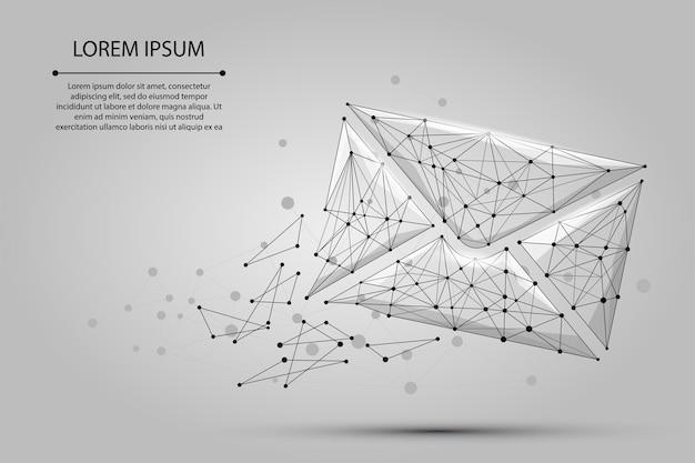 Ligne de mash abstraite et enveloppe de courrier ponctuelle Vecteur Premium