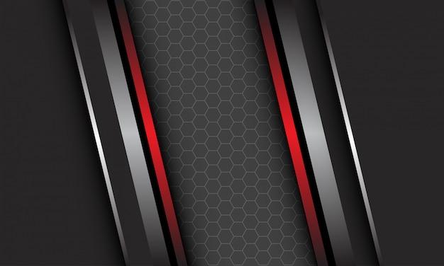 Ligne Métallique Rouge Argent Abstrait Sur Gris Foncé Avec Motif De Maille Hexagonale Design D'espace Vide Fond De Technologie Futuriste De Luxe Moderne Vecteur Premium