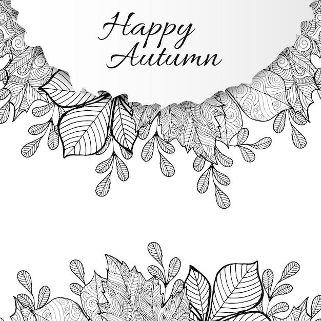 Ligne en noir et blanc art fond d'automne Vecteur Premium