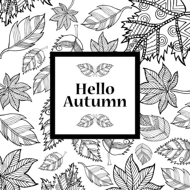Ligne en noir et blanc art fond d'automne Vecteur gratuit