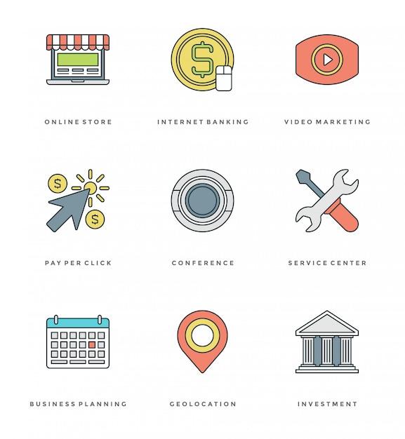 Ligne plate définie des icônes simples. objets essentiels de vecteur de course Vecteur Premium