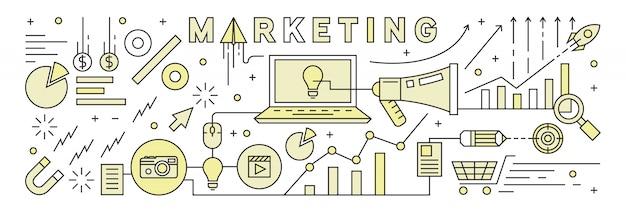 Ligne plate design avec couleurs plates. stratégie de marketing. Vecteur Premium