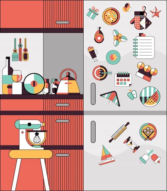 Ligne plate intérieure de cuisine Vecteur gratuit