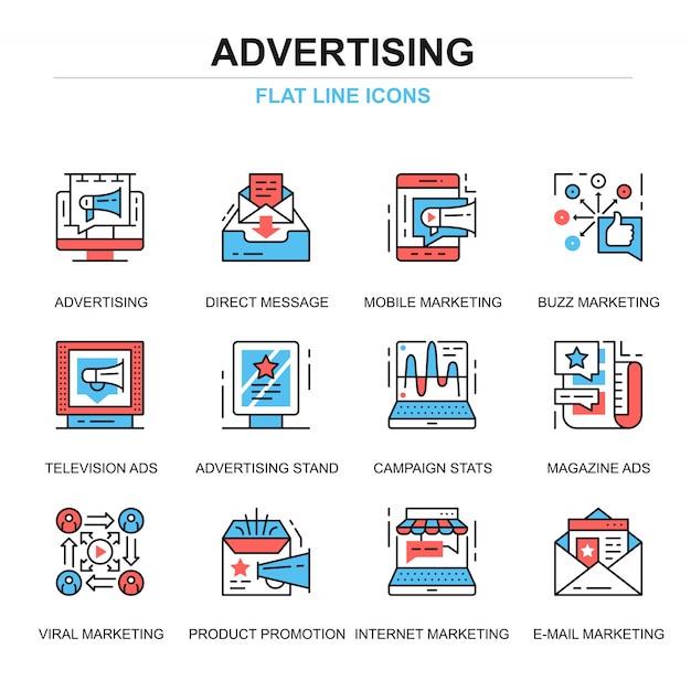 Ligne plate promo et ensemble d'icônes publicitaires Vecteur Premium