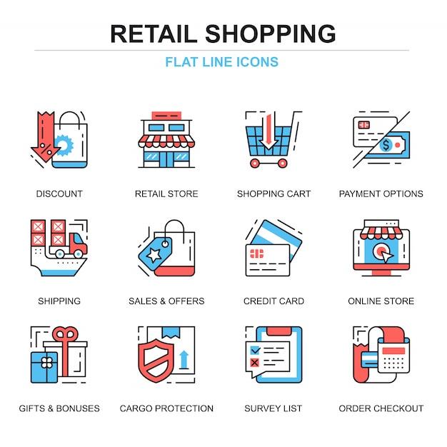 Ligne plate shopping concepts et commerce électronique icônes ensemble de concepts Vecteur Premium