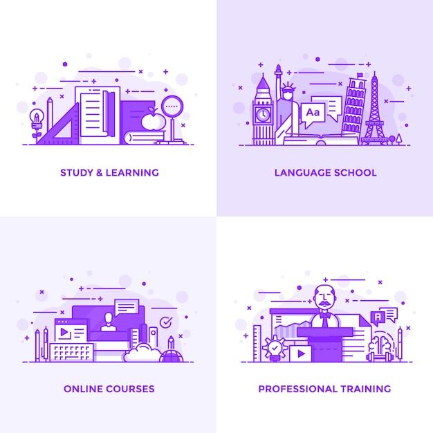Ligne plate violet Vecteur Premium