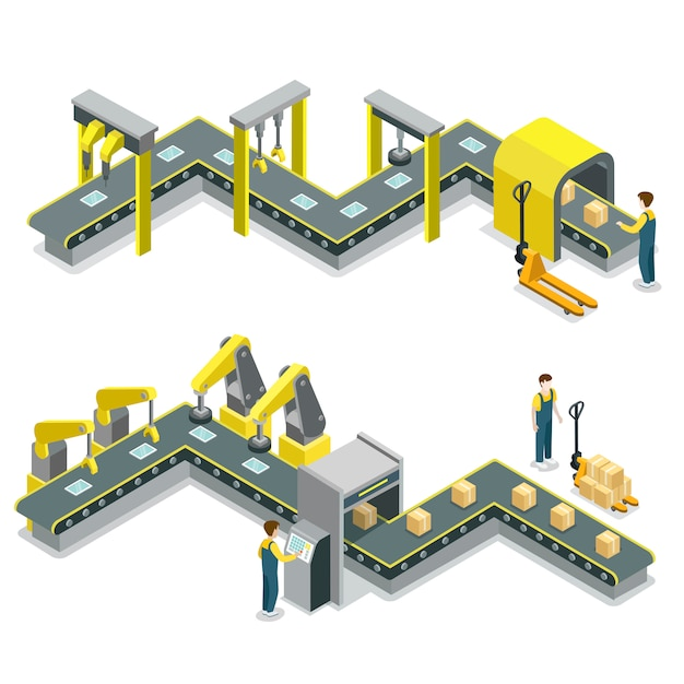 Ligne de production isométrique illustration infographique Vecteur Premium