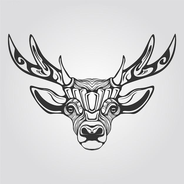 Ligne de renne en noir et blanc Vecteur Premium