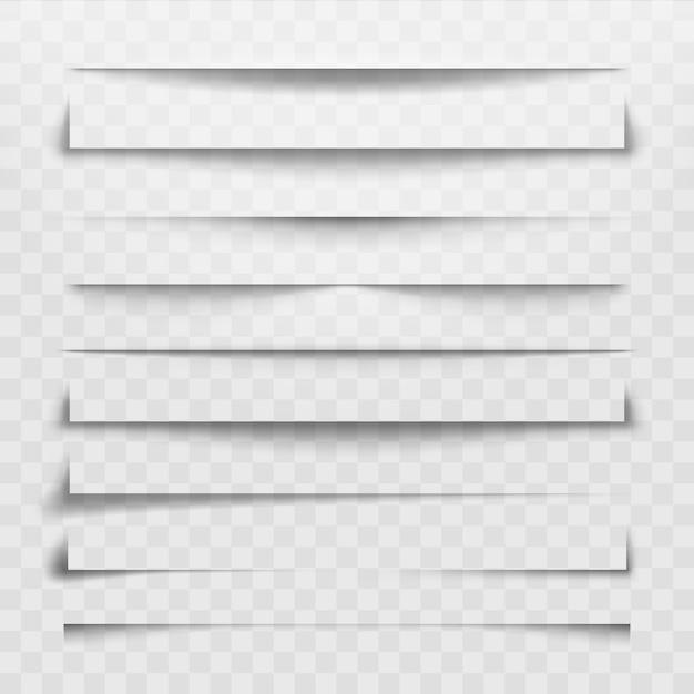 Ligne de séparation ou séparateur d'ombre pour une page web. séparations horizontales, ombres séparant les lignes et les coins Vecteur Premium