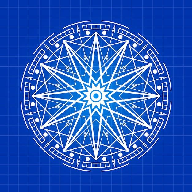 Ligne de signe de mystère ésotérique sur fond bleu Vecteur Premium