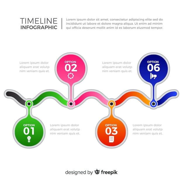 Ligne de temps plat coloré infographique Vecteur gratuit