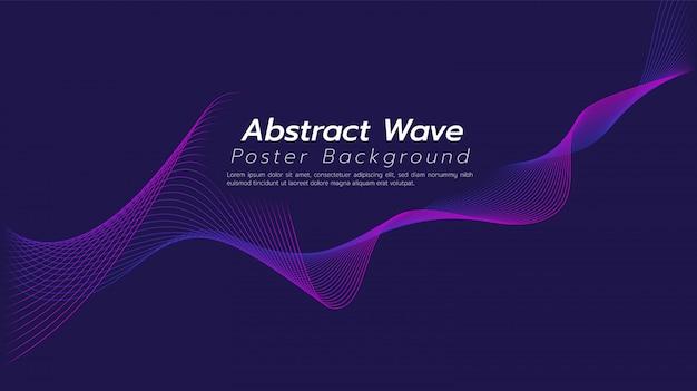 Ligne de vague abstraite ton fond violet foncé. Vecteur Premium