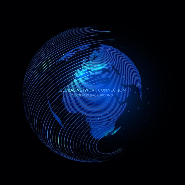 Lignes de connexion autour de fond earth globe, technologie de communication pour les entreprises internet. Vecteur Premium