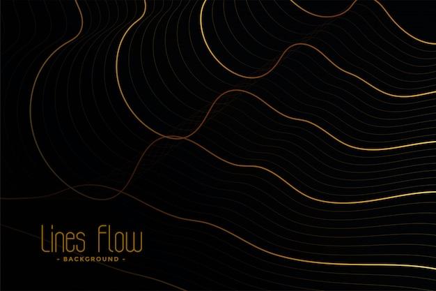 Lignes de contour dorées sur fond noir Vecteur gratuit