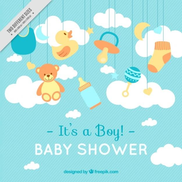 Lignes de fond avec des éléments de douche de bébé Vecteur gratuit