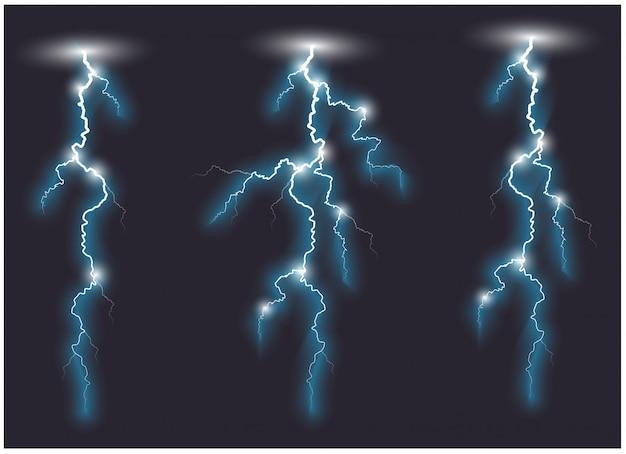 Lignes d'éclair ramifiées obliques de vecteur bleu. illustration vectorielle Vecteur Premium