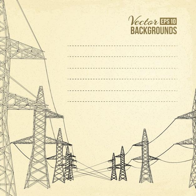 Lignes électriques à haute tension. Vecteur gratuit